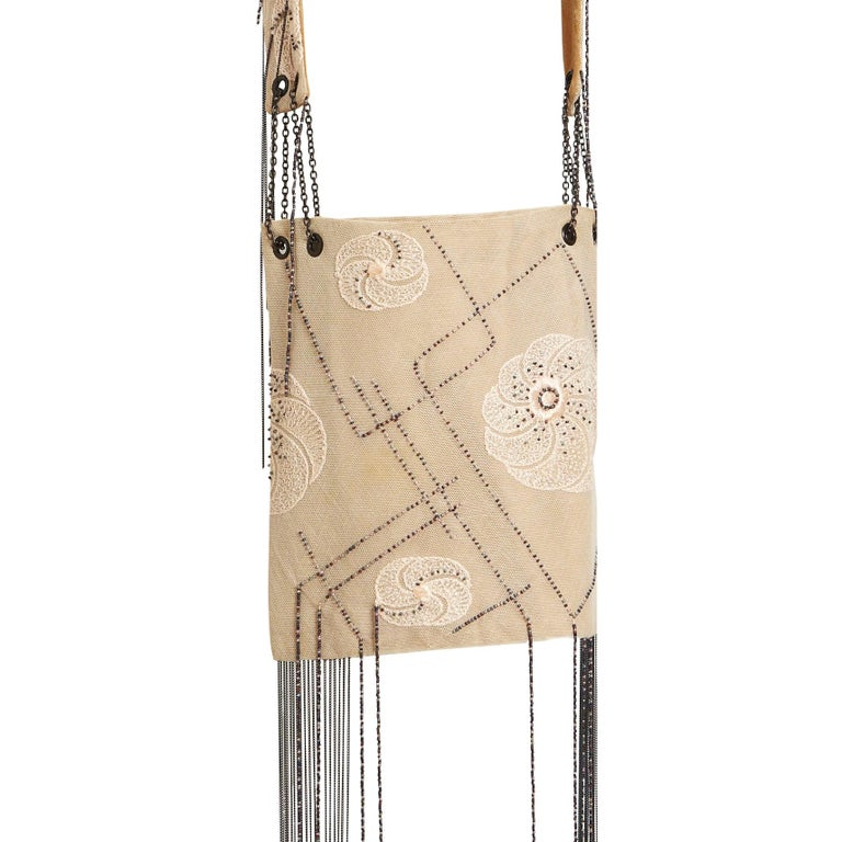 Vanda Smith Vintage Lace & Suede Bag Hand Beaded Delicate Gunmetal Chain Tassels In New Condition For Sale In , GB