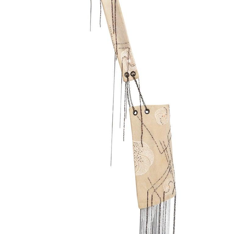 Women's or Men's Vanda Smith Vintage Lace & Suede Bag Hand Beaded Delicate Gunmetal Chain Tassels For Sale