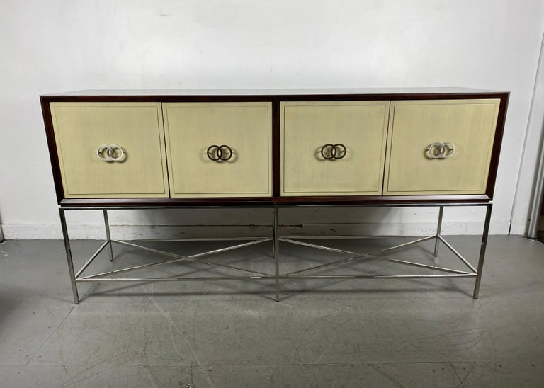 Vanguard furniture Michael Weiss kingsley sideboard / contemporary modernist  Details:  Collection: Michael Weiss Two glass shelves Four doors Hardware: brushed nickel Materials: African walnut solids and veneers ,,,,,,,,,,,,,,,,,,,,, hand