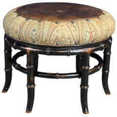 Vanguard Furniture Round Leather and Paisley Faux Bamboo Ottoman Bench Pouf