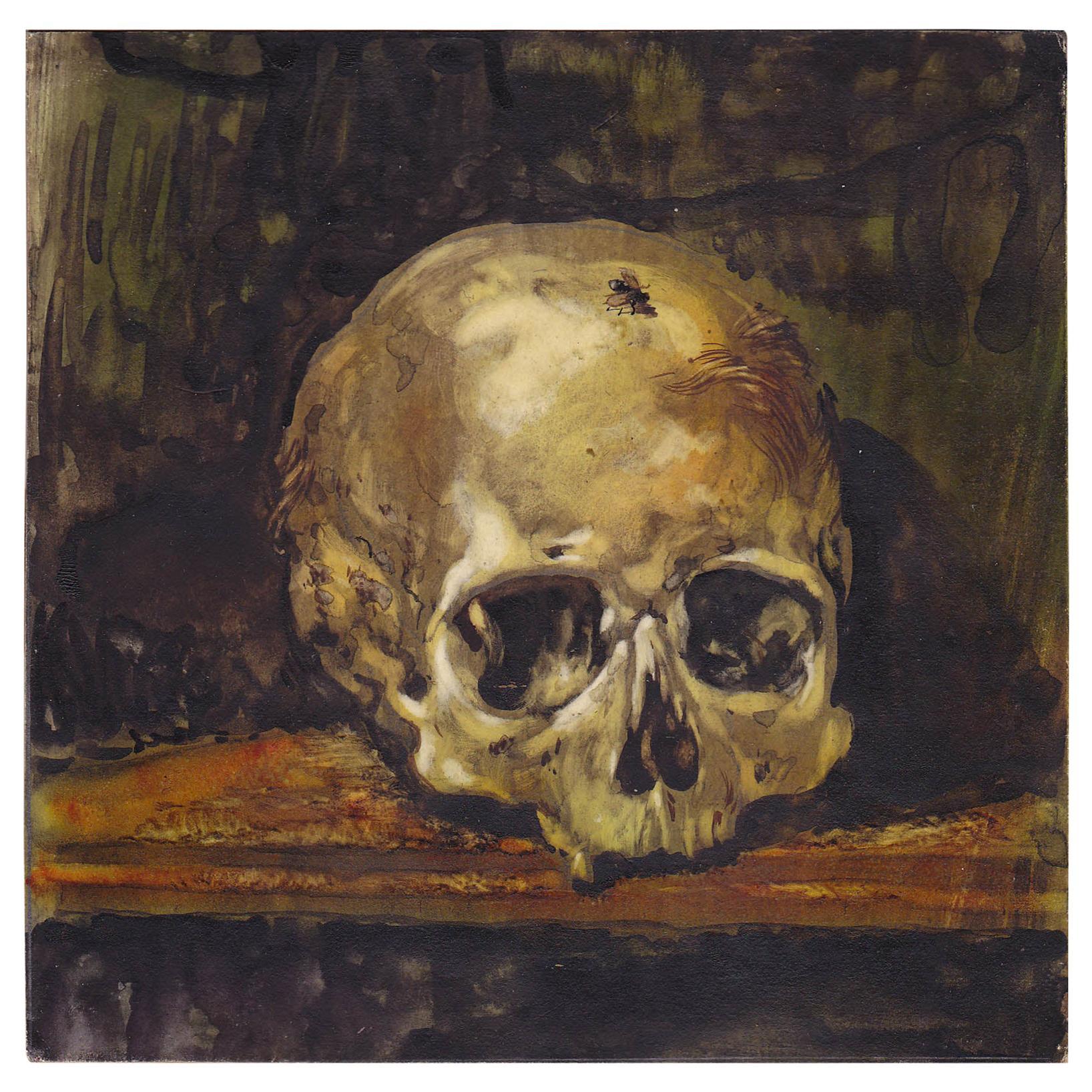 Vanitas Still Life with a Skull Watercolor Central European School