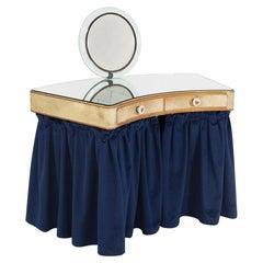 Vanity Desk Attr. to Pietro Chiesa in Art Glass, Parchment and Blue Velvet
