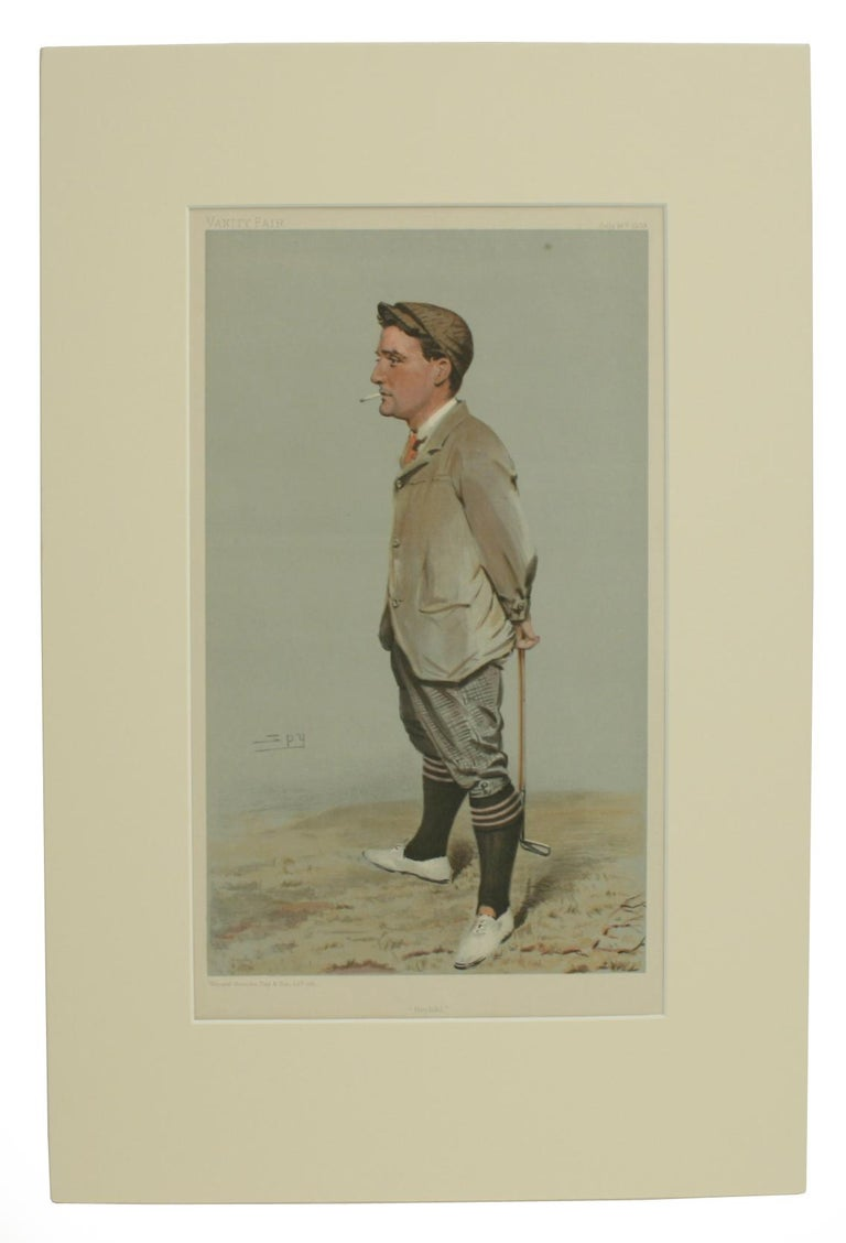 Vanity Fair golf print 'Horace Harold Hilton, Hoylake'. This is a single golfing Vanity Fair lithographic portrait print 'Horace Harold Hilton, Hoylake'. An original print mounted and in good condition. In total 13 golfing caricatures were