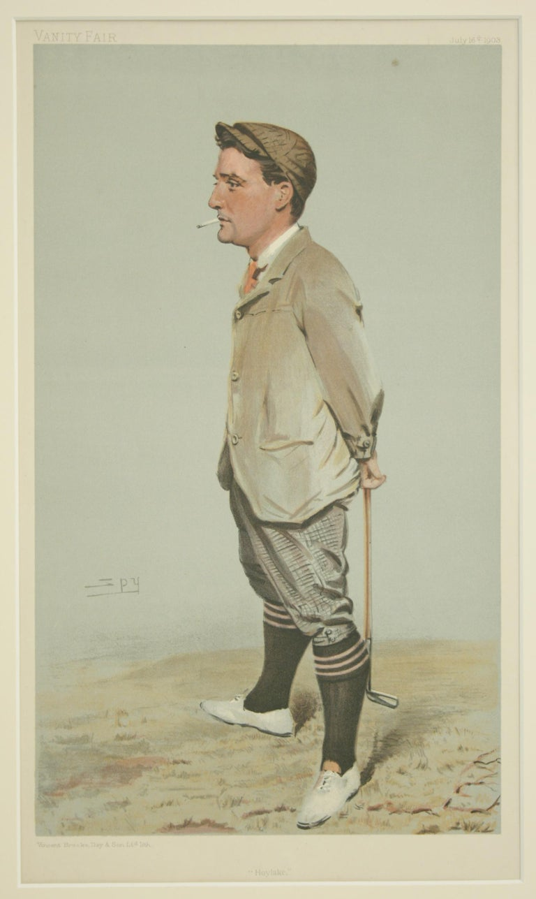 Vanity Fair Golf Print 'Horace Harold Hilton, Hoylake' In Excellent Condition For Sale In Oxfordshire, GB