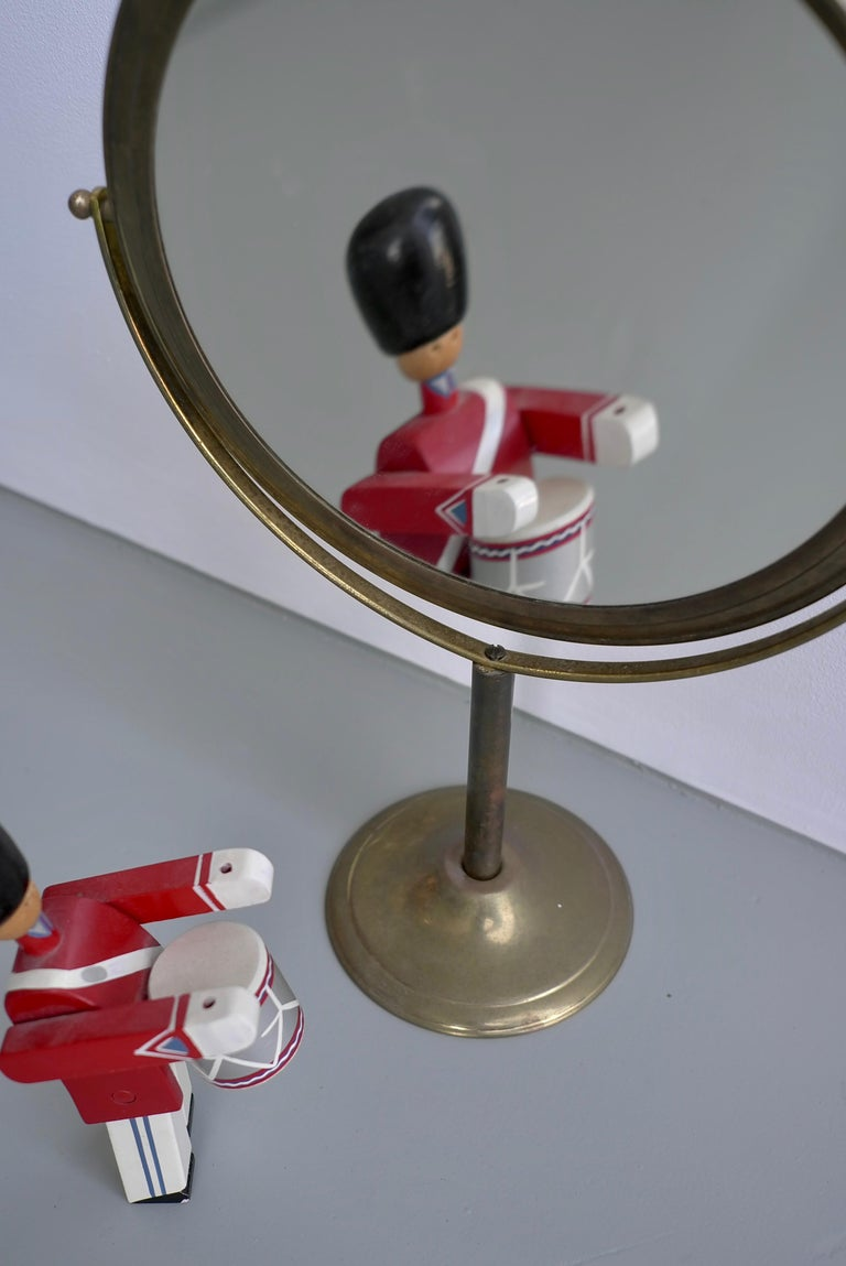 Vanity Make Up Table Mirror in Brass, France, 1940s In Good Condition For Sale In The Hague, NL