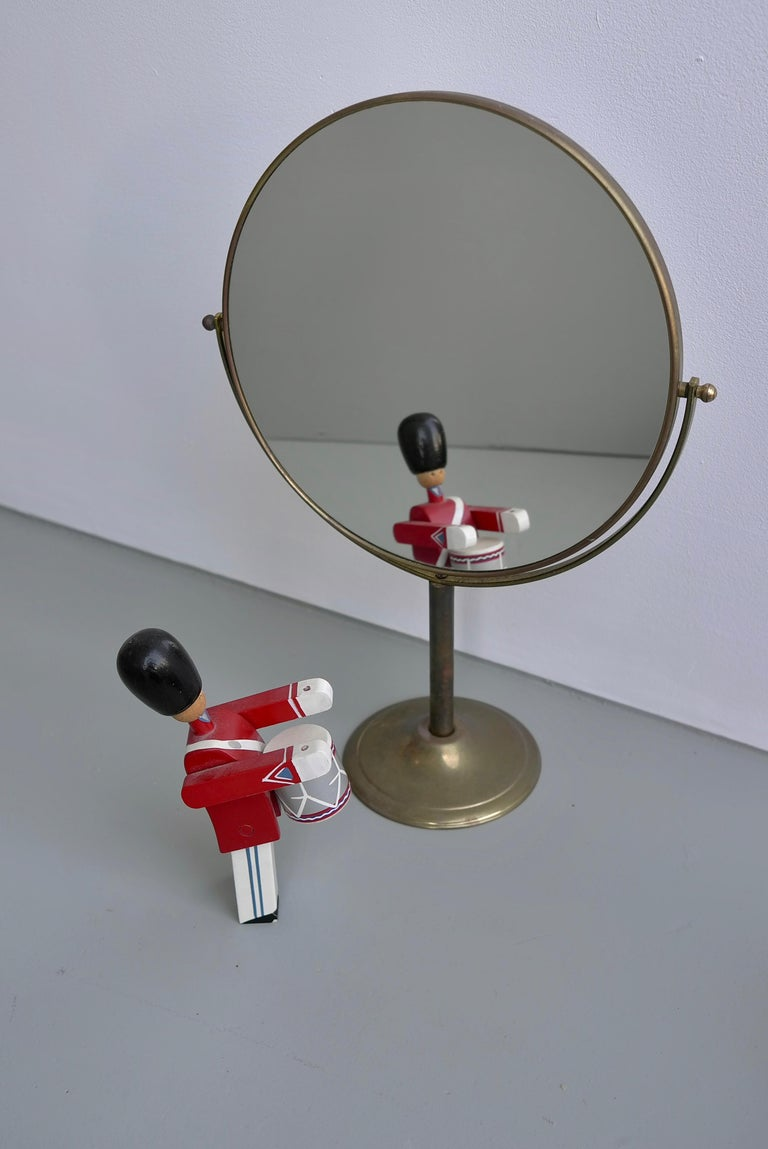 Mid-20th Century Vanity Make Up Table Mirror in Brass, France, 1940s For Sale
