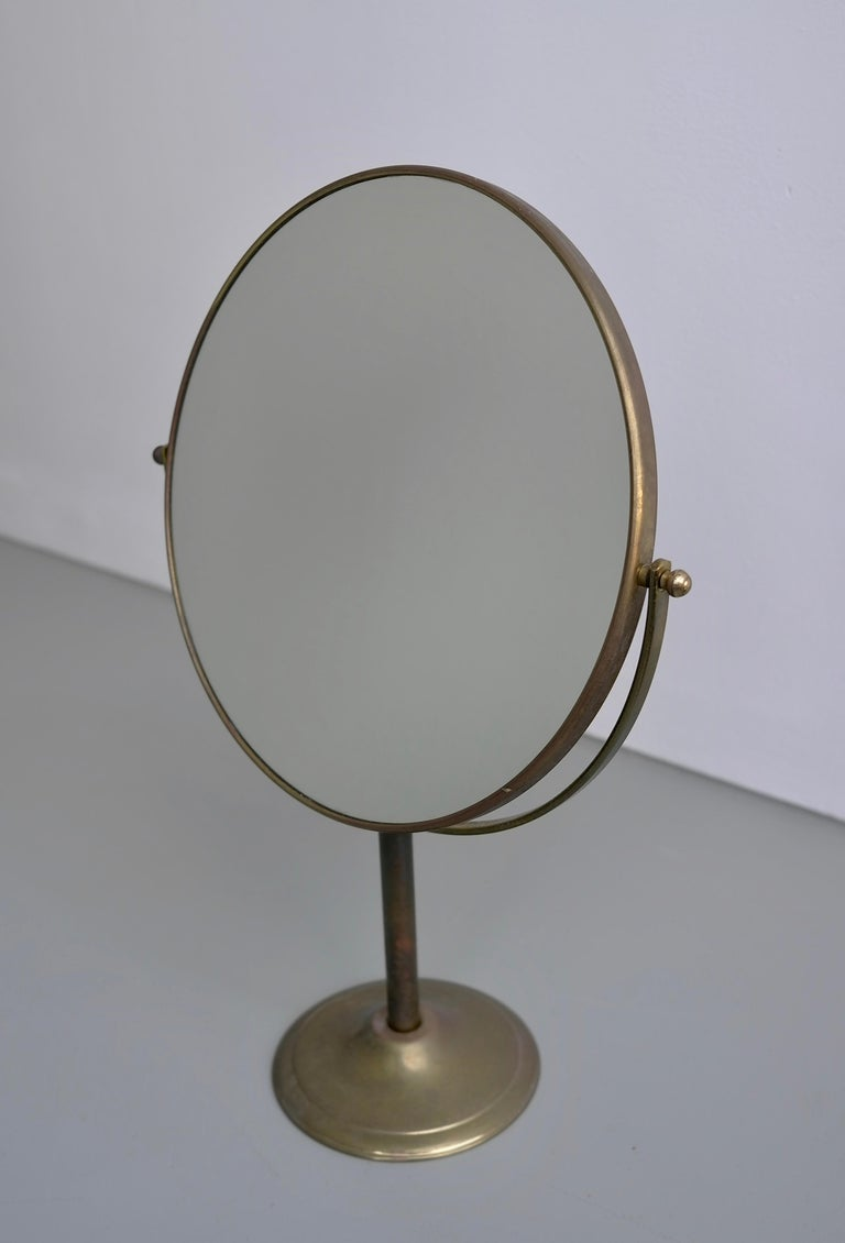 Vanity Make Up Table Mirror in Brass, France, 1940s For Sale 1