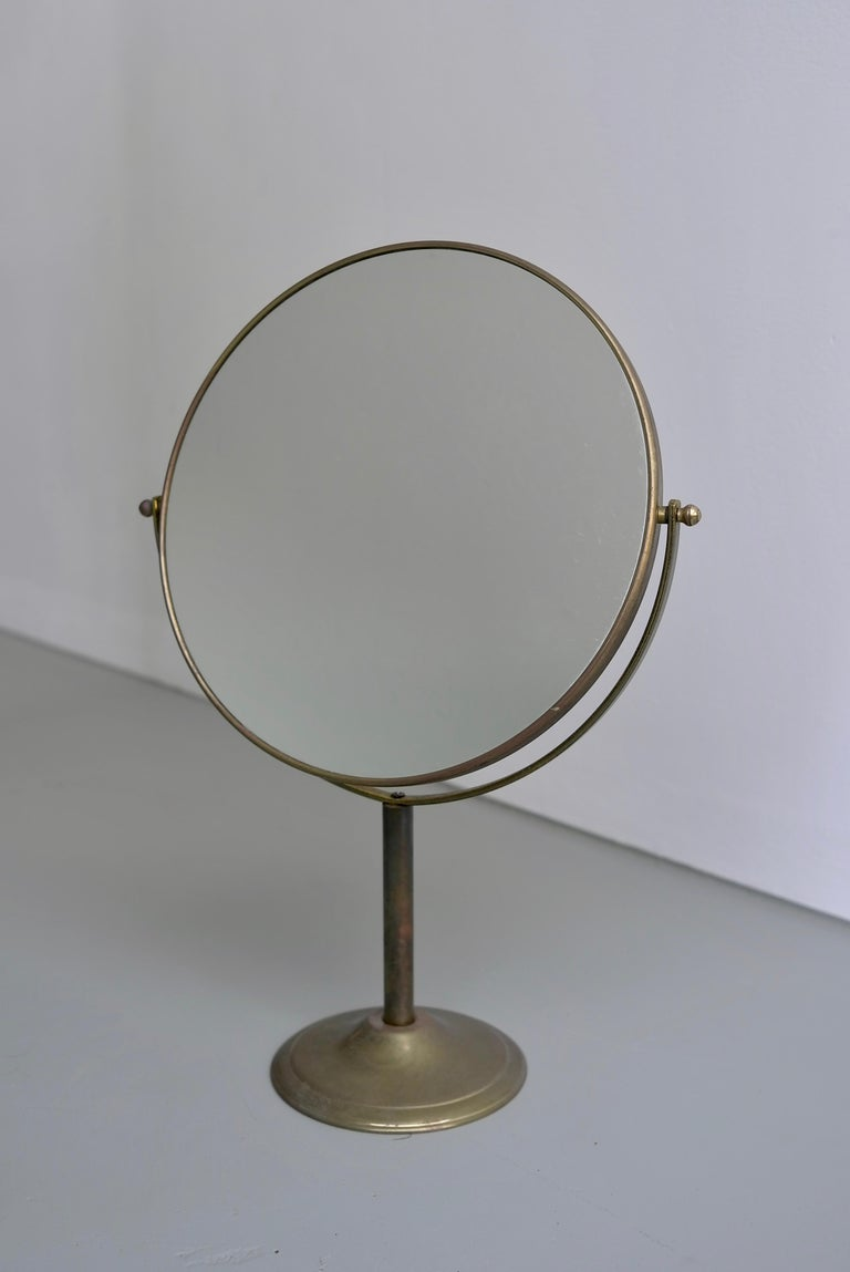 Vanity Make Up Table Mirror in Brass, France, 1940s For Sale 2