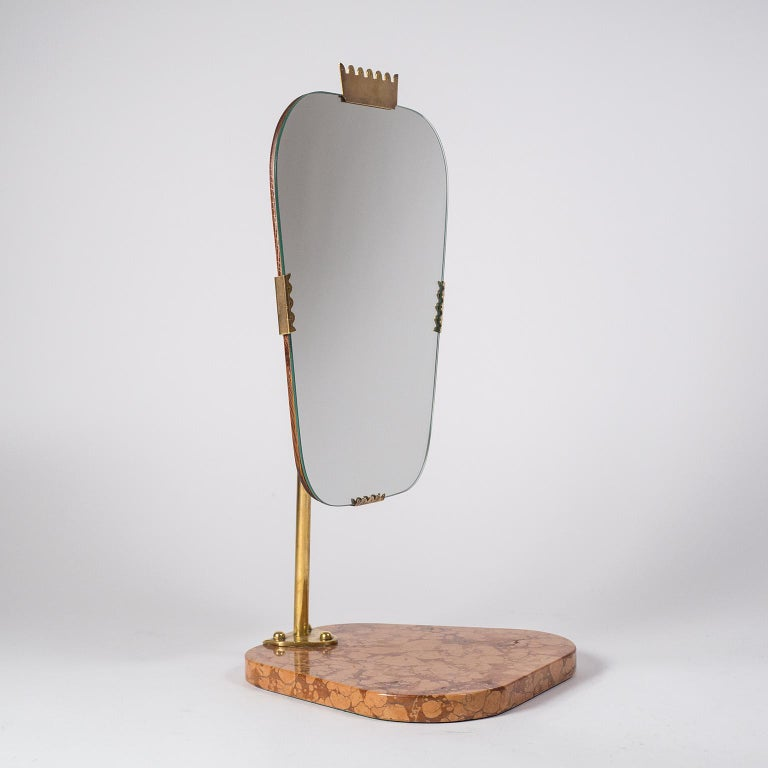 Swedish 1940s Vanity Mirror, Brass, Stone and Teak For Sale 6
