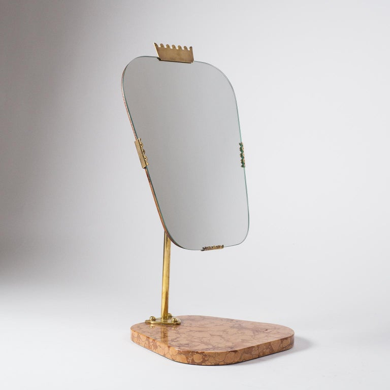 Swedish 1940s Vanity Mirror, Brass, Stone and Teak For Sale 7