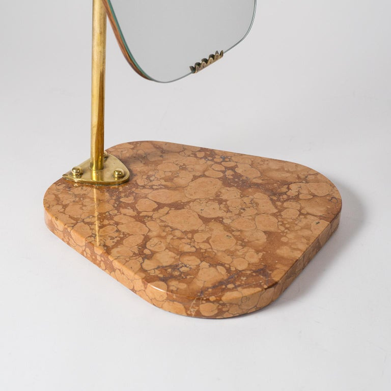 Swedish 1940s Vanity Mirror, Brass, Stone and Teak For Sale 3
