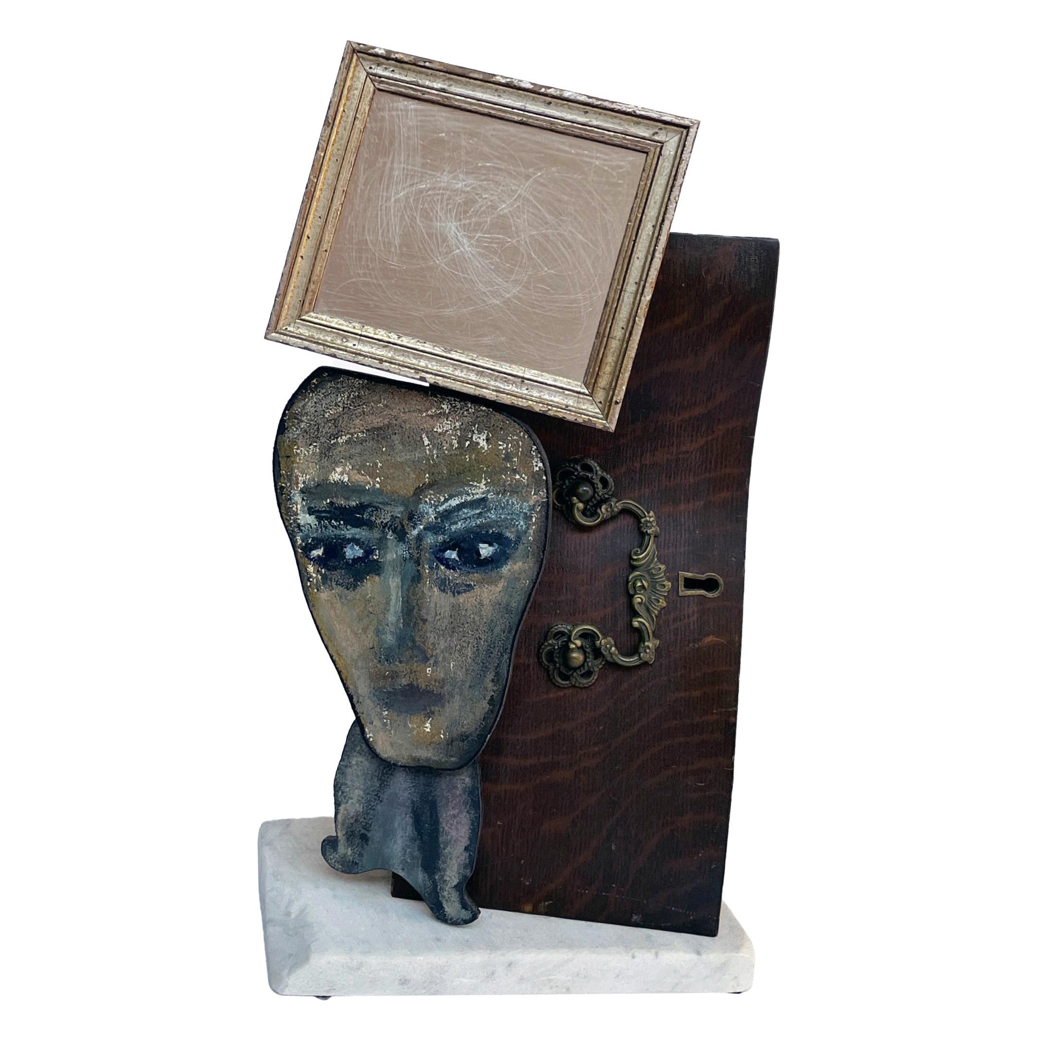 Vanity Mirror Sculptural Construction with Sculpture Found Objects and Portrait
