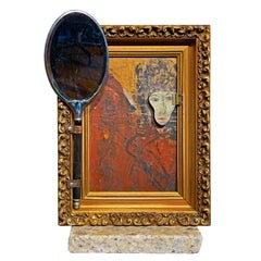 "Vanity Mirror, ""The Mask I Wear"", Sculptural Mirror Object with Painting"