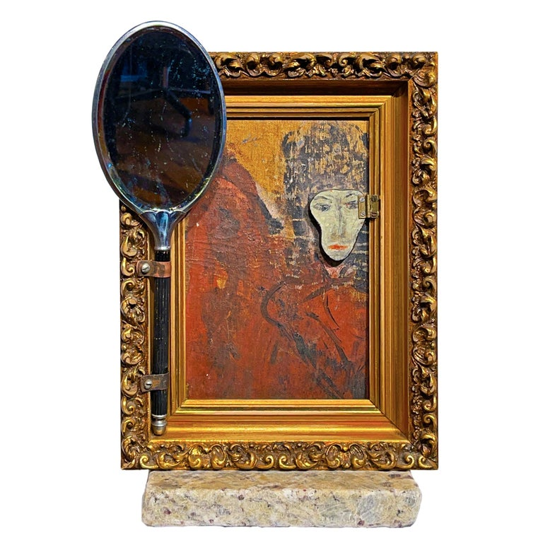 """Vanity Mirror, """"The Mask I Wear"""", Sculptural Mirror Object with Painting For Sale"""