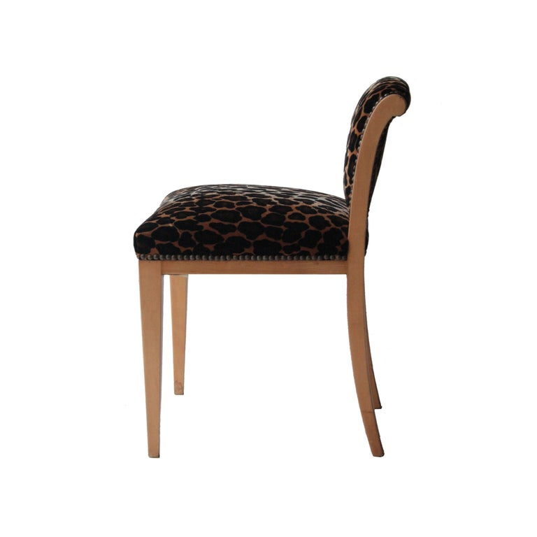Vanity Stool Made In Birch Wooden Structure With Animal Print Velvet Upholstery Edited By Gancedo