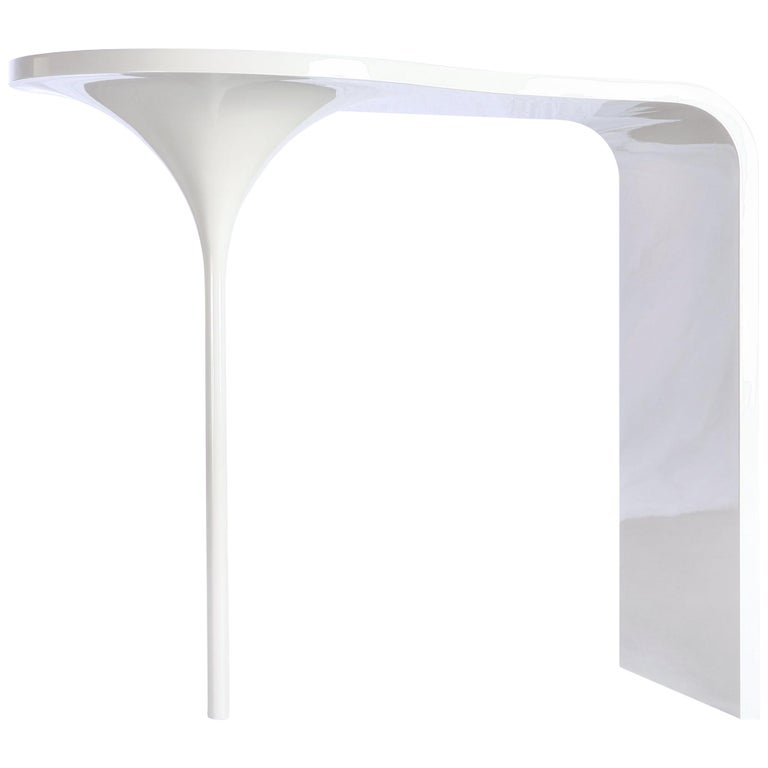 Vanity Table in powder coated wood with integrated bowl, desk or entry table For Sale