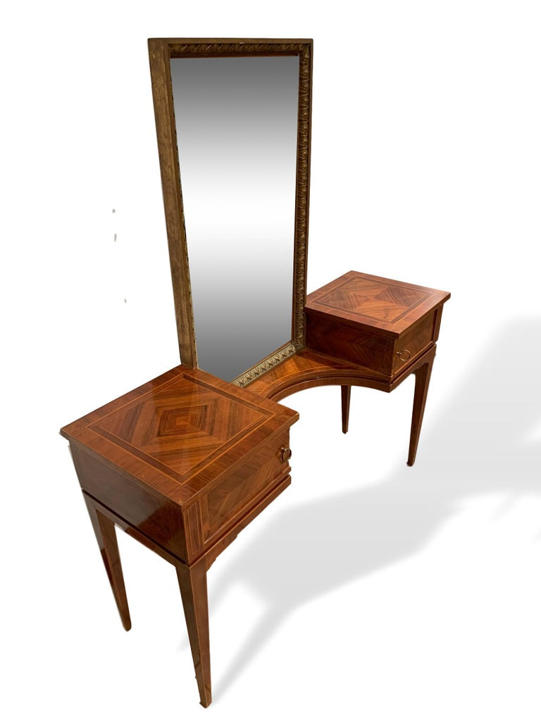 Belle Époque Vanity with Attached Gilt Mirror, Inlaid with Exotic Woods, Italian, circa 1900 For Sale