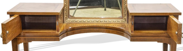 Hand-Crafted Vanity with Attached Gilt Mirror, Inlaid with Exotic Woods, Italian, circa 1900 For Sale