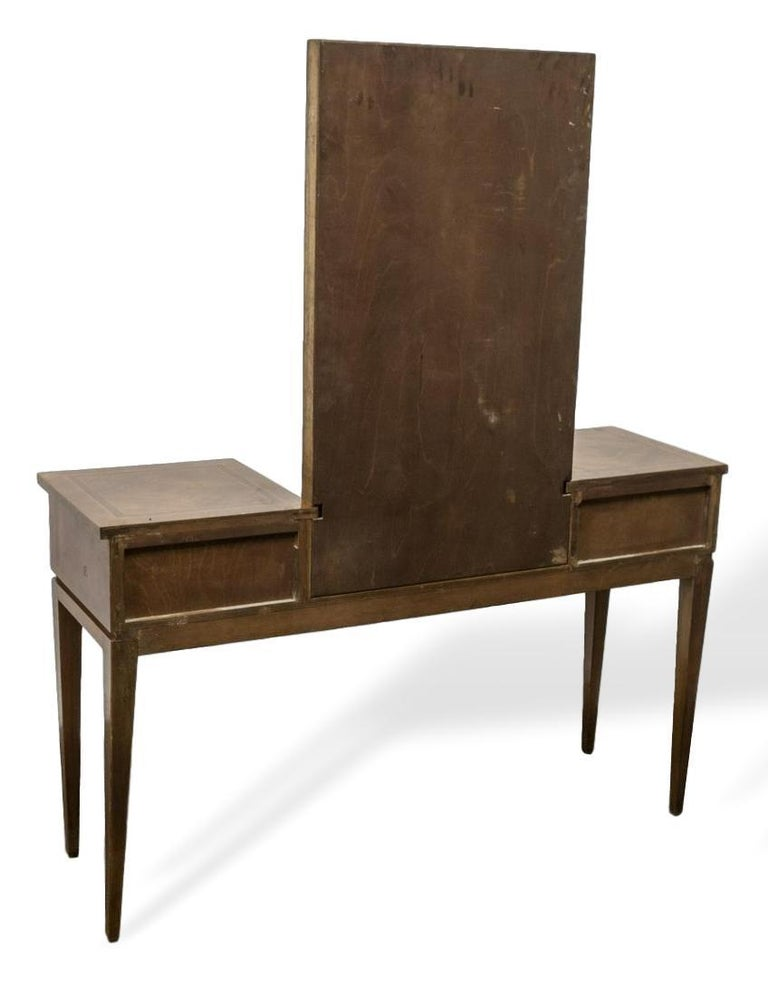 Vanity with Attached Gilt Mirror, Inlaid with Exotic Woods, Italian, circa 1900 In Good Condition For Sale In Banner Elk, NC