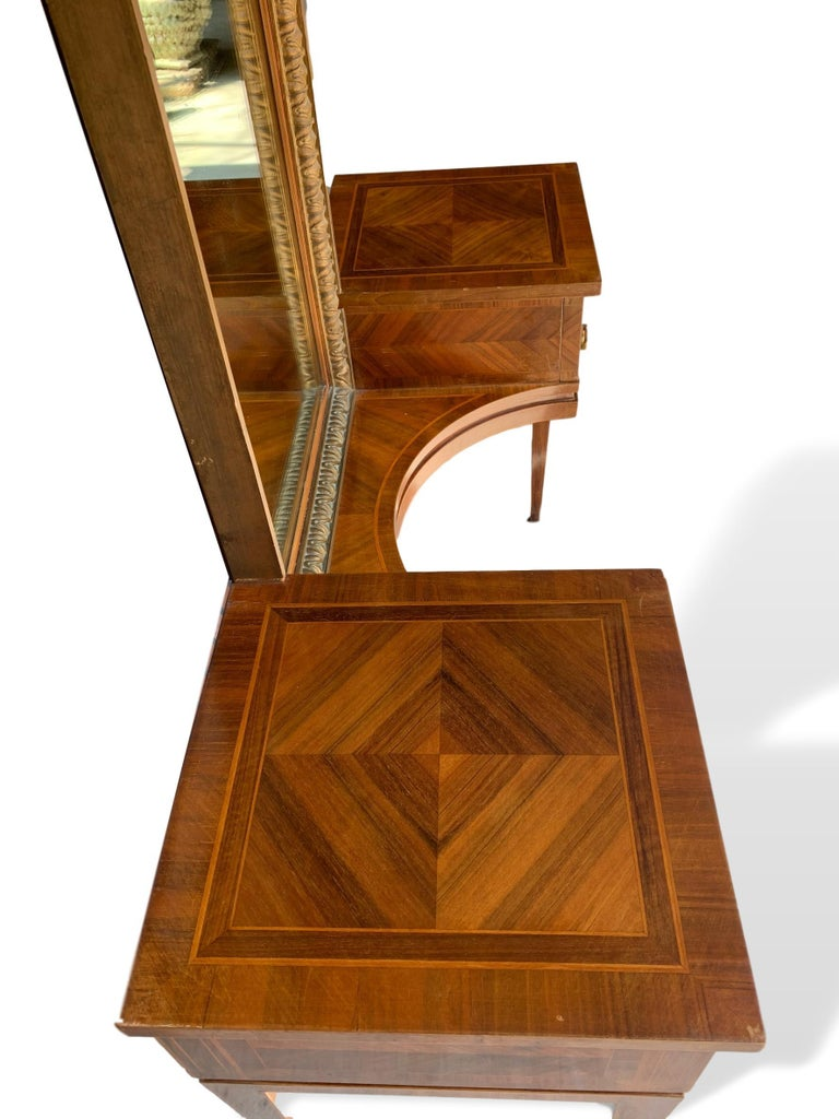 20th Century Vanity with Attached Gilt Mirror, Inlaid with Exotic Woods, Italian, circa 1900 For Sale