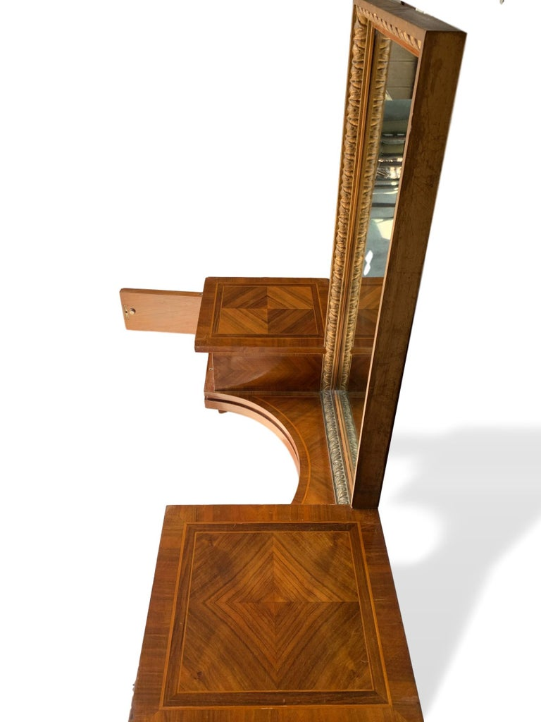 Kingwood Vanity with Attached Gilt Mirror, Inlaid with Exotic Woods, Italian, circa 1900 For Sale