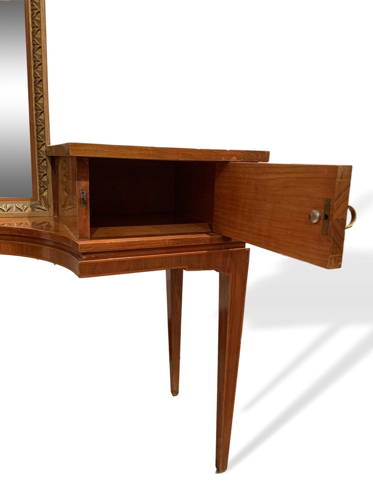 Vanity with Attached Gilt Mirror, Inlaid with Exotic Woods, Italian, circa 1900 For Sale 1