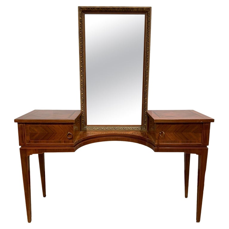 Vanity with Attached Gilt Mirror, Inlaid with Exotic Woods, Italian, circa 1900 For Sale