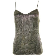 Vantage RALPH LAUREN Black Silk Slip Tank Evening Top w/ Rhinestones