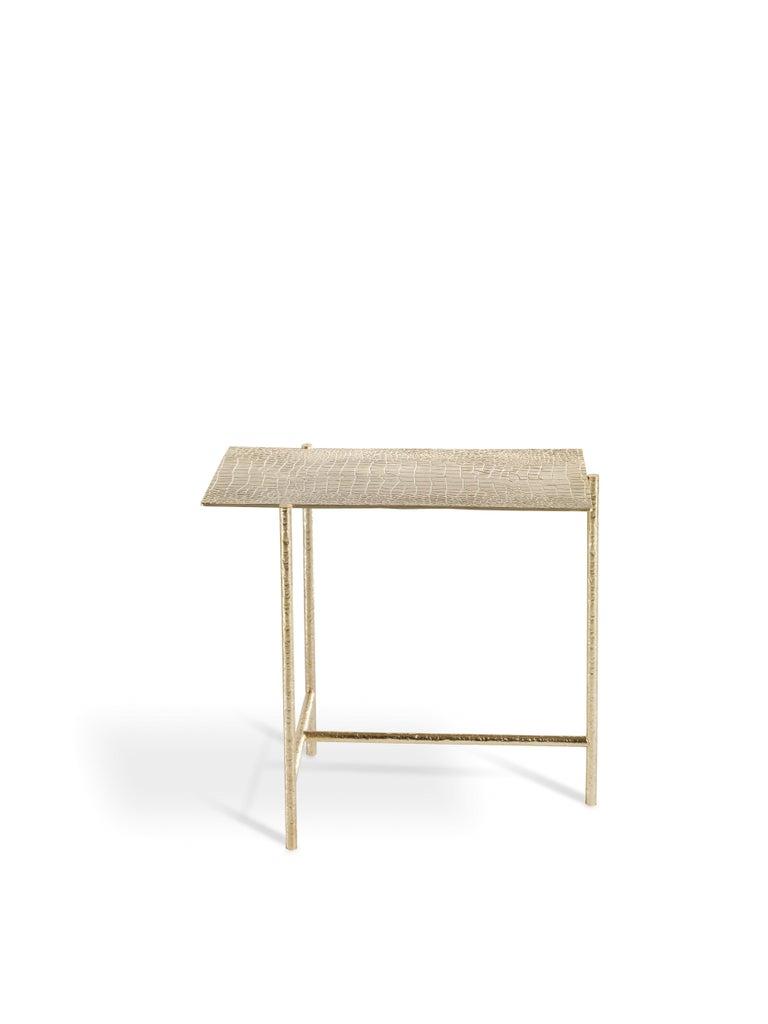 Italian Vanuatu Small Side Table in Metal by Roberto Cavalli Home Interiors For Sale