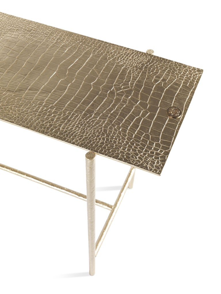 Vanuatu Small Side Table in Metal by Roberto Cavalli Home Interiors In New Condition For Sale In Cantu, IT