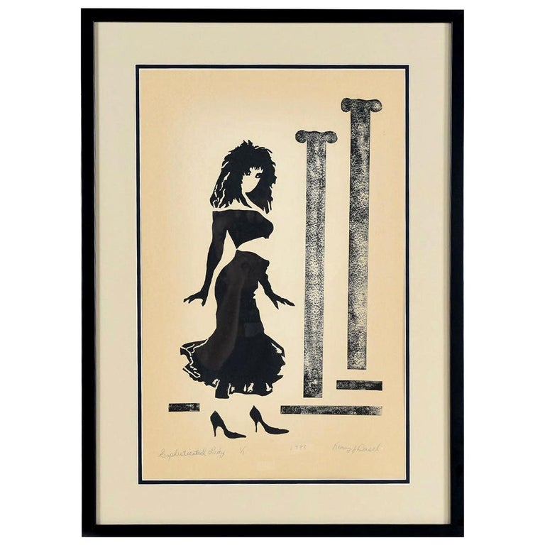Vaporwave Style Kenny Dasch Sophisticated Lady Pencil Signed Print, 1988 For Sale