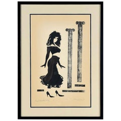 Vaporwave Style Kenny Dasch Sophisticated Lady Pencil Signed Print, 1988