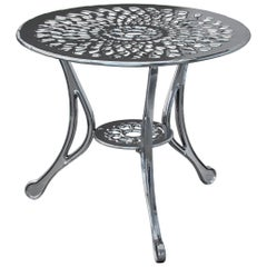 Varado, Outdoor Aluminum Side Table with Chrome Finish, Made in Italy