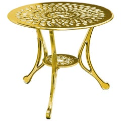 Varado, Outdoor Aluminum Side Table with Gold Finish, Made in Italy