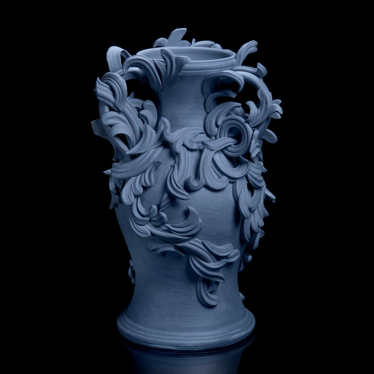 Organic Modern Vari Capitelli IX, a Unique Ceramic Sculptural Vase in Blue by Jo Taylor For Sale