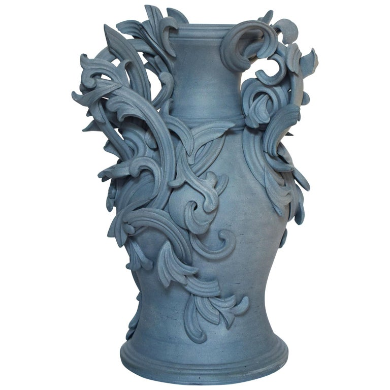 Vari Capitelli IX, a Unique Ceramic Sculptural Vase in Blue by Jo Taylor For Sale