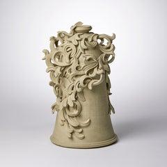 Vari Capitelli VII, a Unique Ceramic Vase in Soft Ochre Green by Jo Taylor