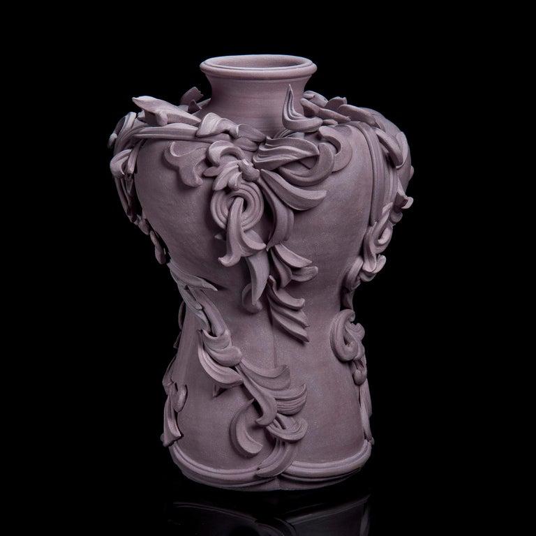 Organic Modern Vari Capitelli VIII, a Unique Ceramic Vase in Dusky Damson and Plum by Jo Taylor For Sale