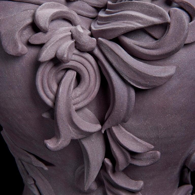 British Vari Capitelli VIII, a Unique Ceramic Vase in Dusky Damson and Plum by Jo Taylor For Sale