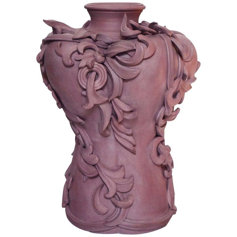 Vari Capitelli VIII, a Unique Ceramic Vase in Dusky Damson and Plum by Jo Taylor For Sale