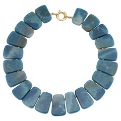 Variegated Blue Quartz and Yellow Gold Collar Necklace