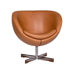 Varier Planet I Leather Armchair Cognac Brown Chair Swivel