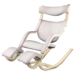 Varier Stokke Gravity Balans Chair, Custom White Leather and Beach, Peter Opsvik