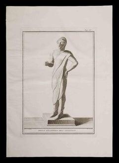 Ancient Etruscan Statue - Original Etching - 18th century