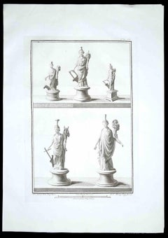 Ancient Roman Statues - Original Etching - 1700s