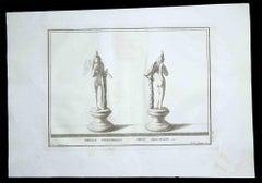 Ancient Roman Statues - Original Etching - 18th century