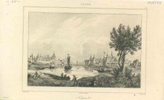 Ancient View of Novgorod - Original Lithograph - First Half of 19th Century