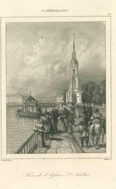Ancient View of the Tour de l'Eglise St. Nicolas - Original Lithograph - 1850s