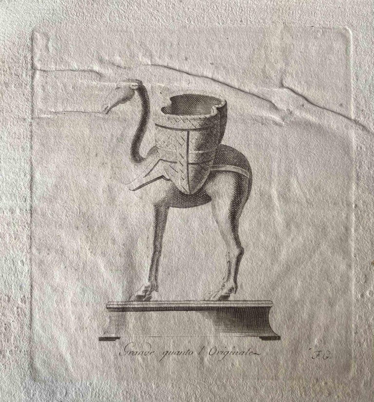 Various Artists Animal Print - Animal Figures from Ancient Rome - Original Etching by Various Masters - 1750s