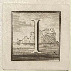 Capital Letter from Ancient Rome - Original Etching by Various Masters - 1750s